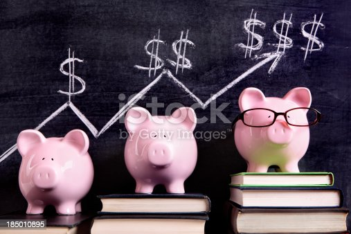 istock Piggy Banks with savings chart 185010895