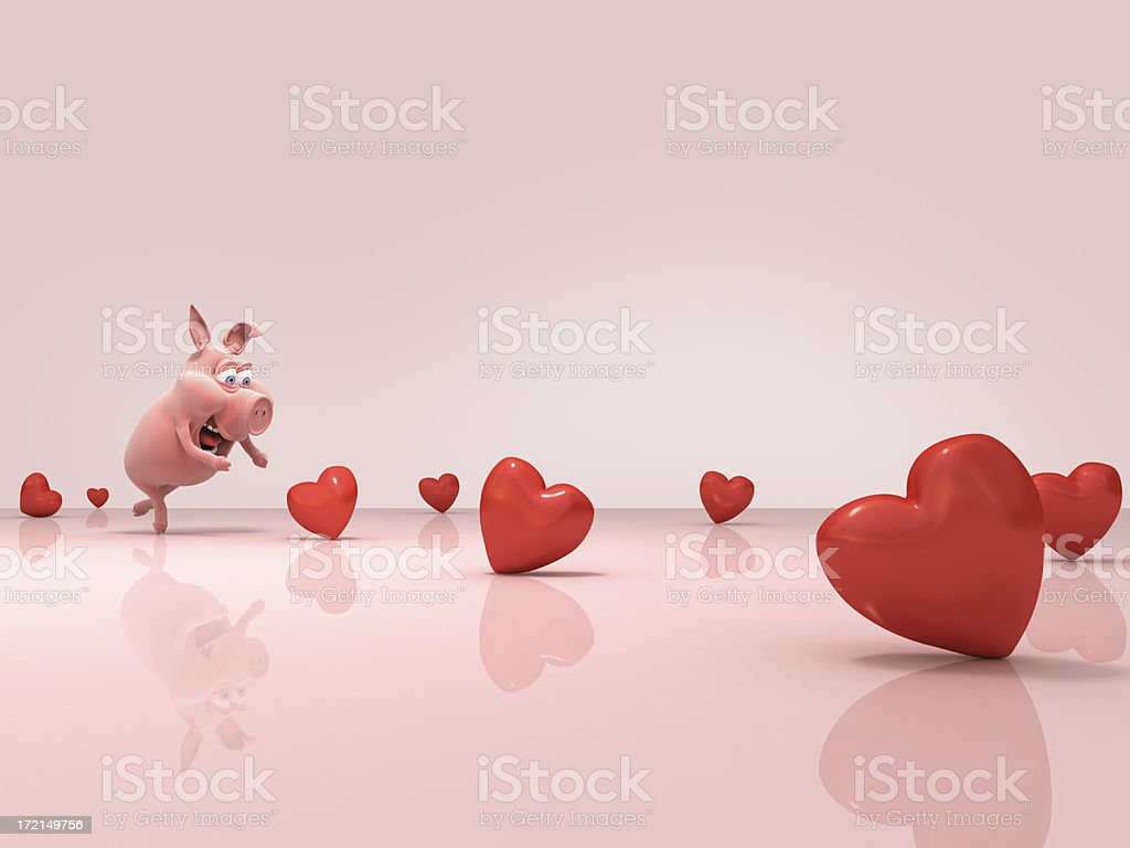 piggy & hearts stock photo