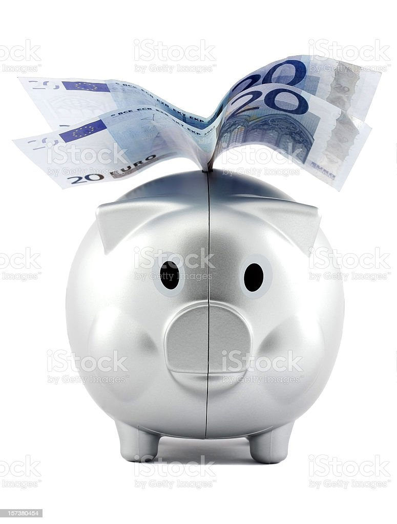 Piggy money box with Euro wings royalty-free stock photo