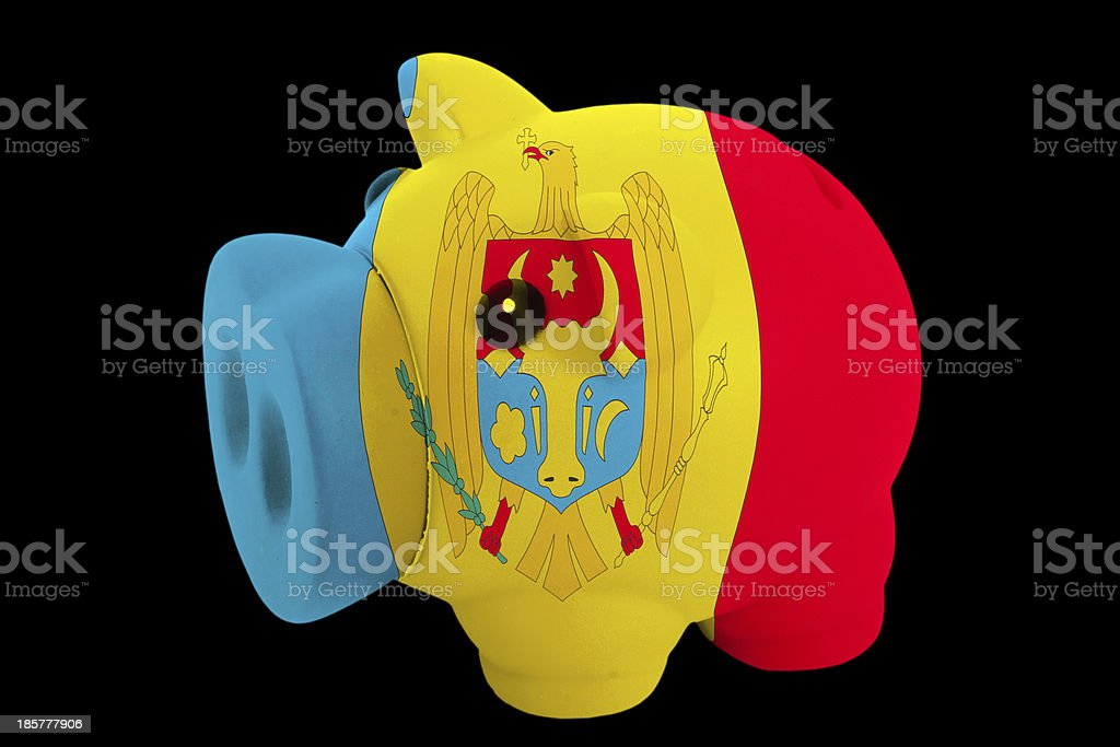 piggy rich bank in colors national flag of moldova stock photo
