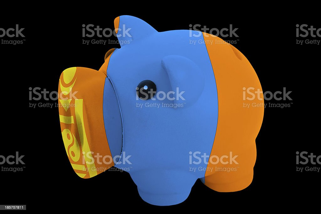 piggy rich bank in colors national flag of mongolia royalty-free stock photo