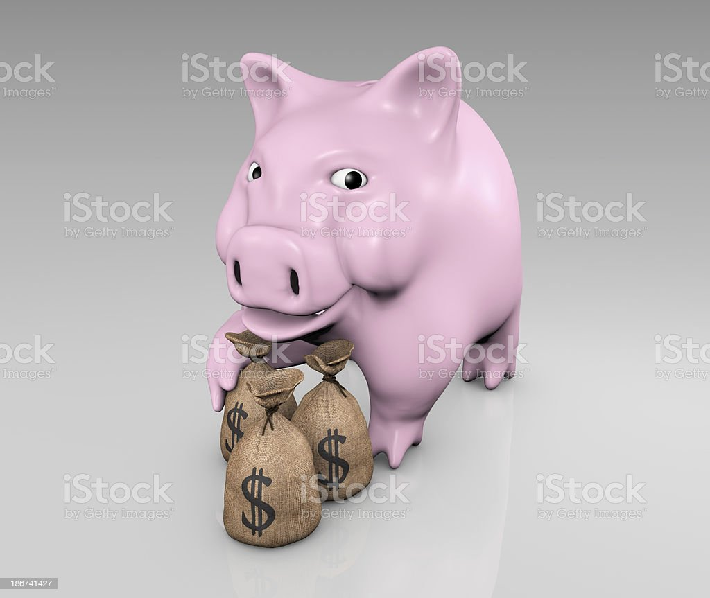 piggy with bags of money royalty-free stock photo