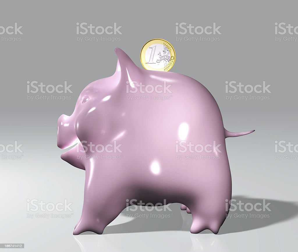 piggy with one euro royalty-free stock photo