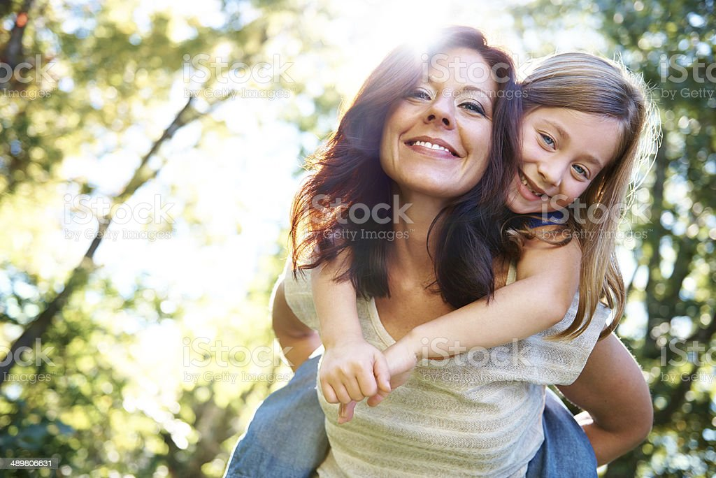 Piggyback with my favourite person stock photo