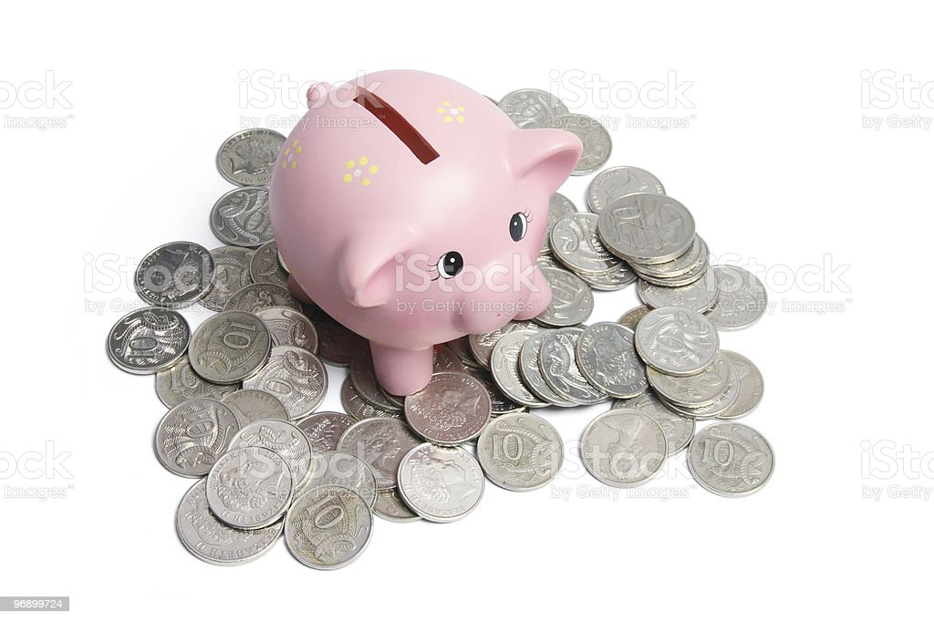Piggybank and Coins royalty-free stock photo