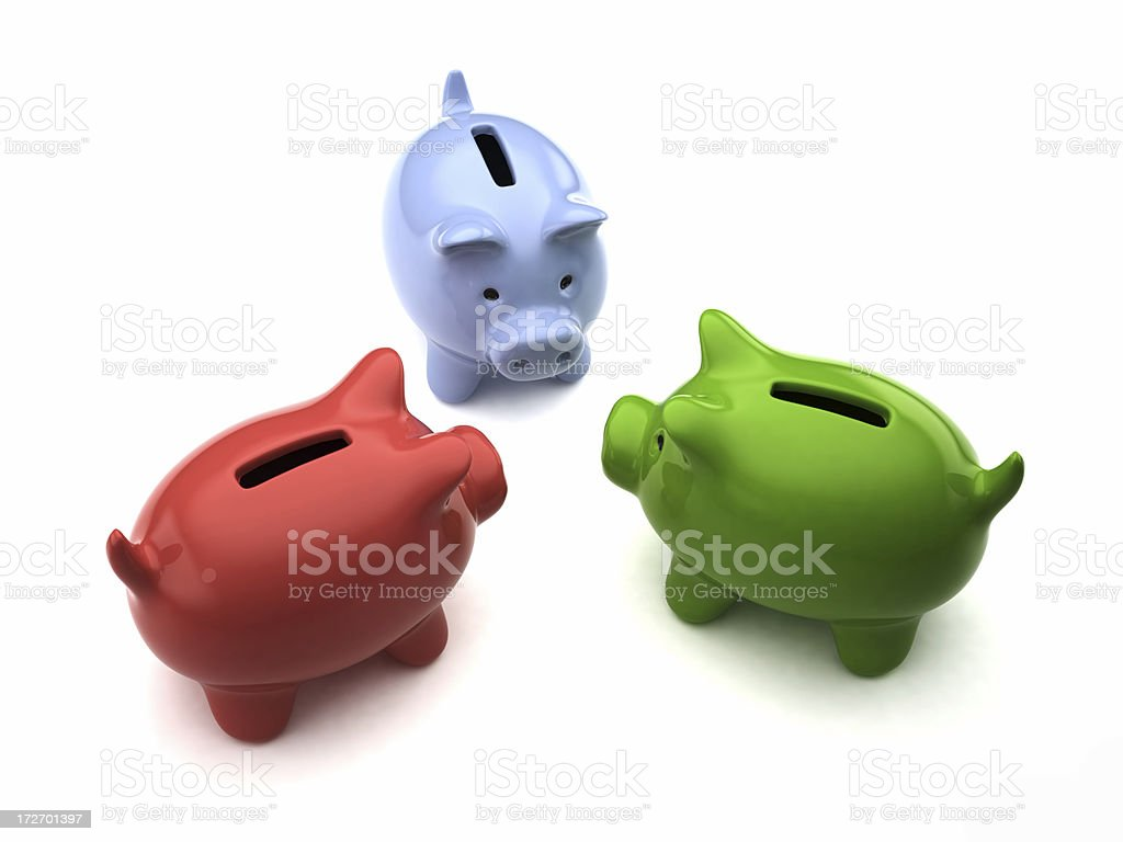 Piggybank Discussion royalty-free stock photo