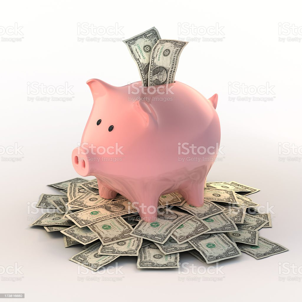 Piggybank full of dollar bills (Clipping path included) royalty-free stock photo