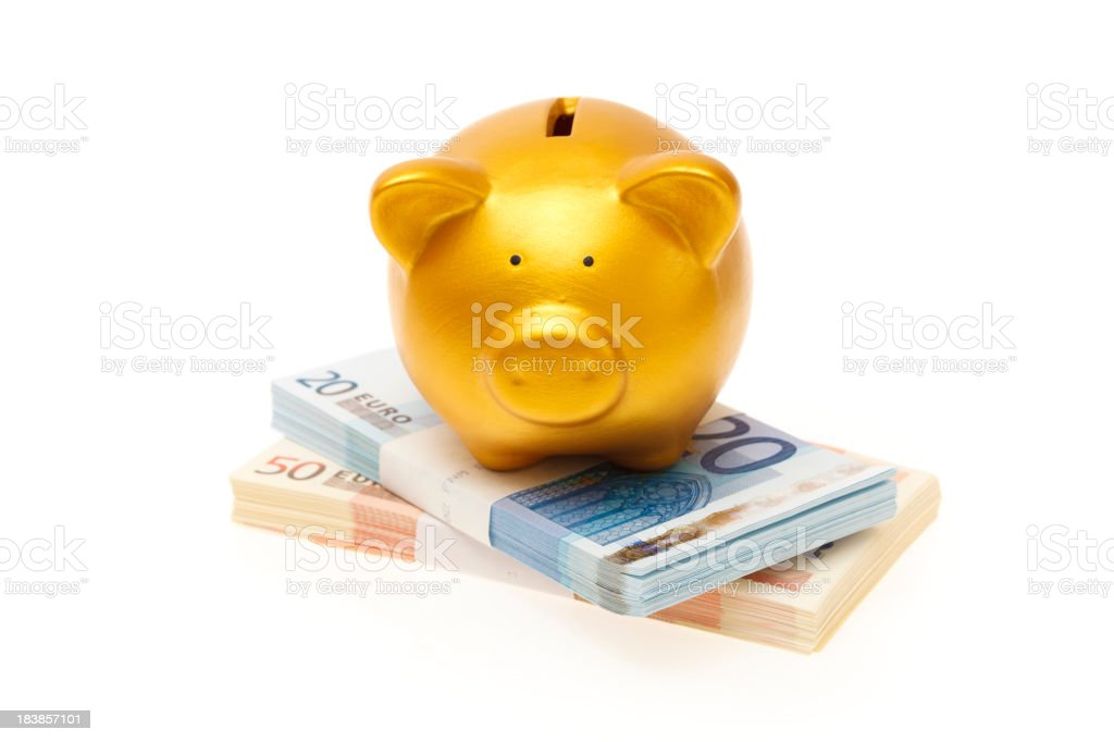 Piggybank on a Twenty and fifty euro wad of cash royalty-free stock photo
