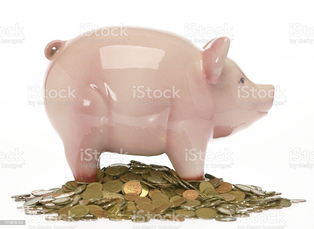 Piggybank on coins royalty-free stock photo