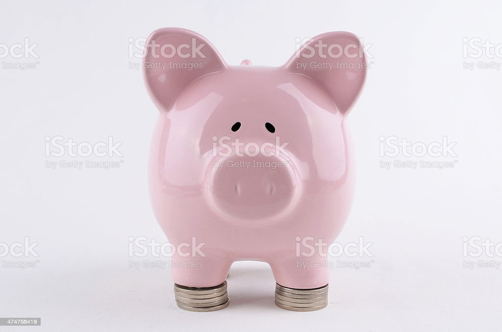 Piggybank on Stack of coins royalty-free stock photo