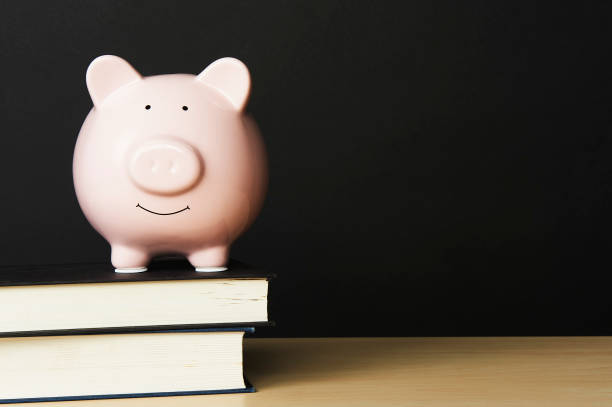 Piggybank on wooden table top, standing on top of a stack of books on a black background. stock photo