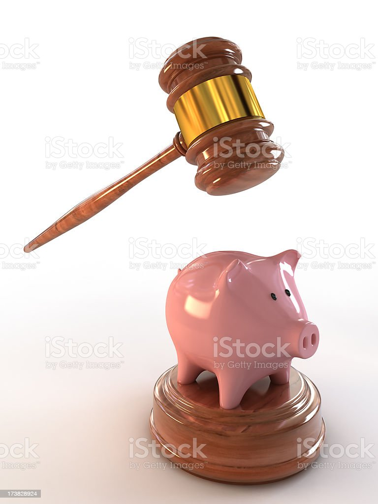 Piggybank under the hammer (Clipping path included) royalty-free stock photo