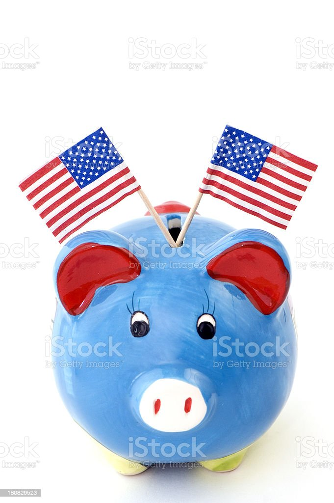Piggybank with American Flag royalty-free stock photo