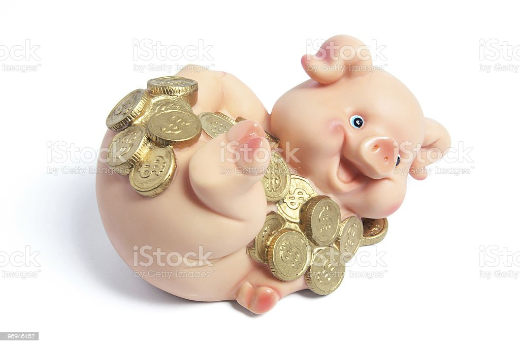 Piggybank with Coins royalty-free stock photo