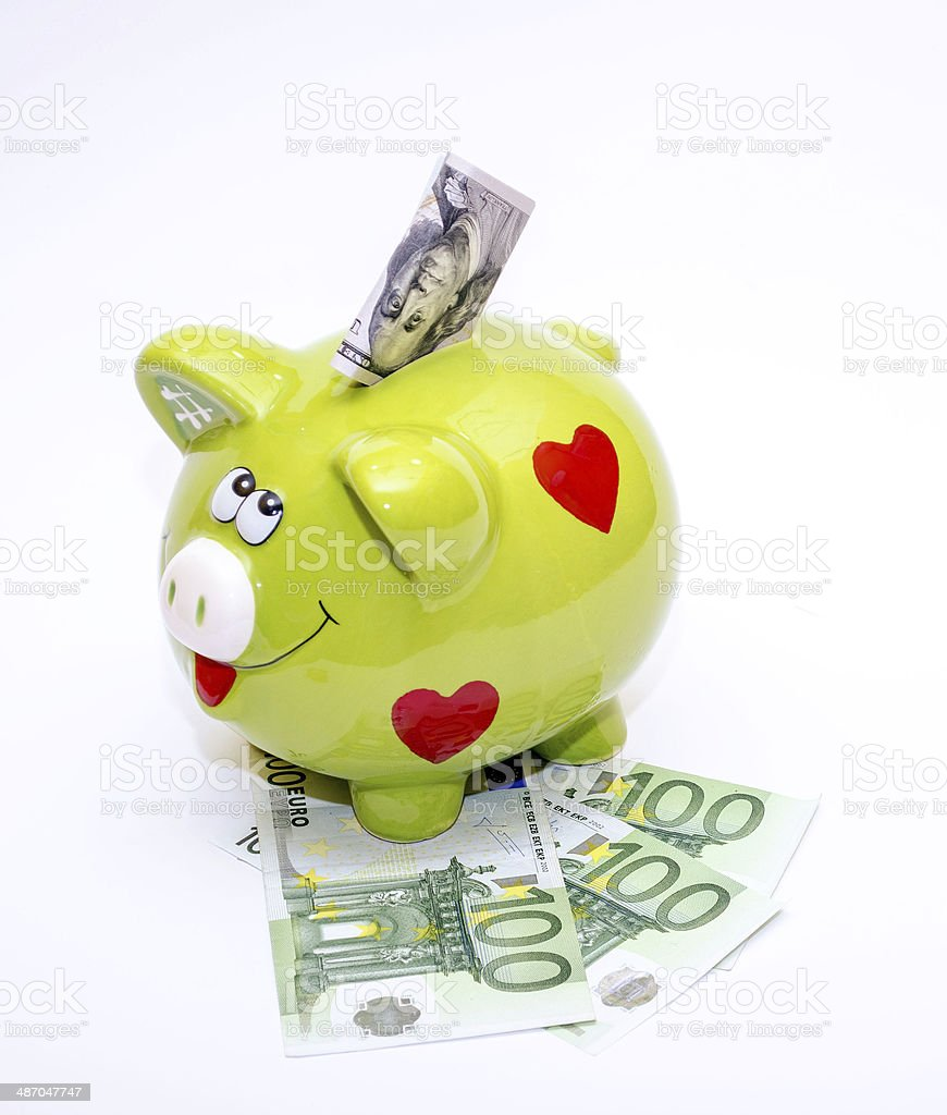 Piggybank with Dollar and Euro , isolated on white stock photo