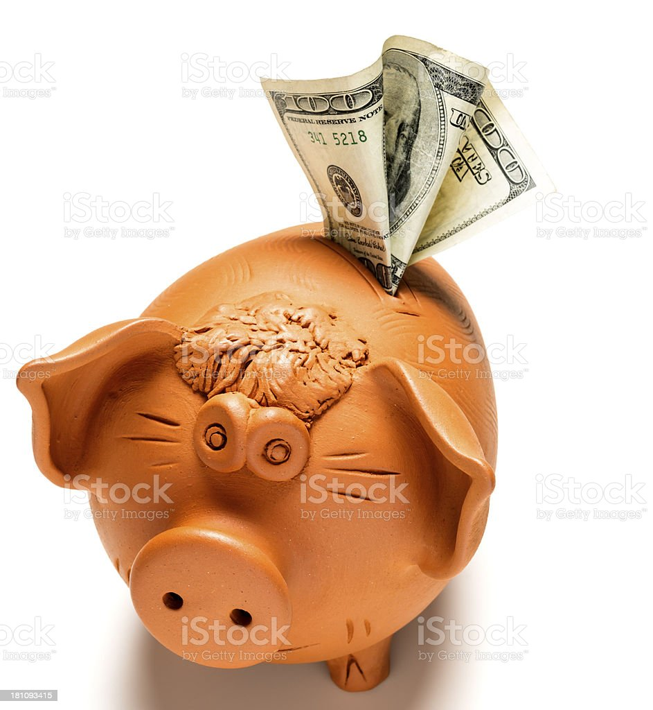 piggybank with dollars royalty-free stock photo