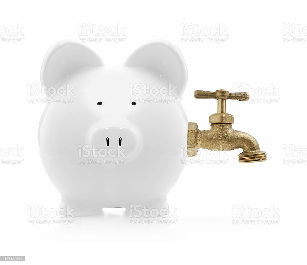 piggybank with faucet royalty-free stock photo