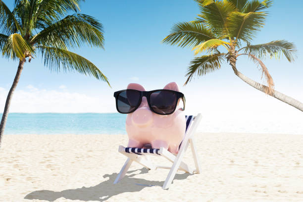 Piggybank With Sunglasses On Deck Chair Piggybank With Sunglasses On Deck Chair 40 kilometre stock pictures, royalty-free photos & images