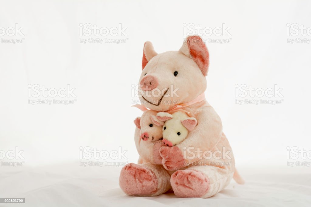 Piglet doll carrying baby on a white background stock photo