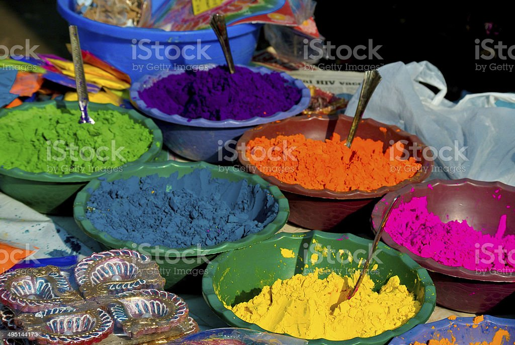 Pigments for sale at a market in Mumbai stock photo