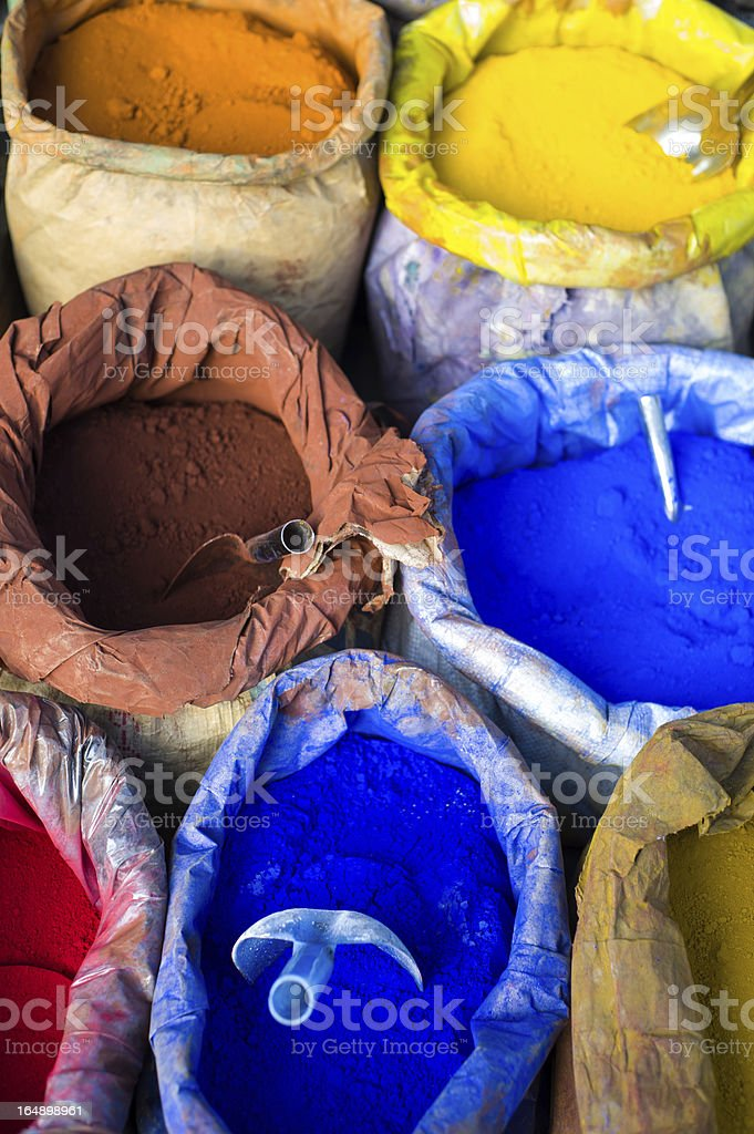 pigments in sacks royalty-free stock photo
