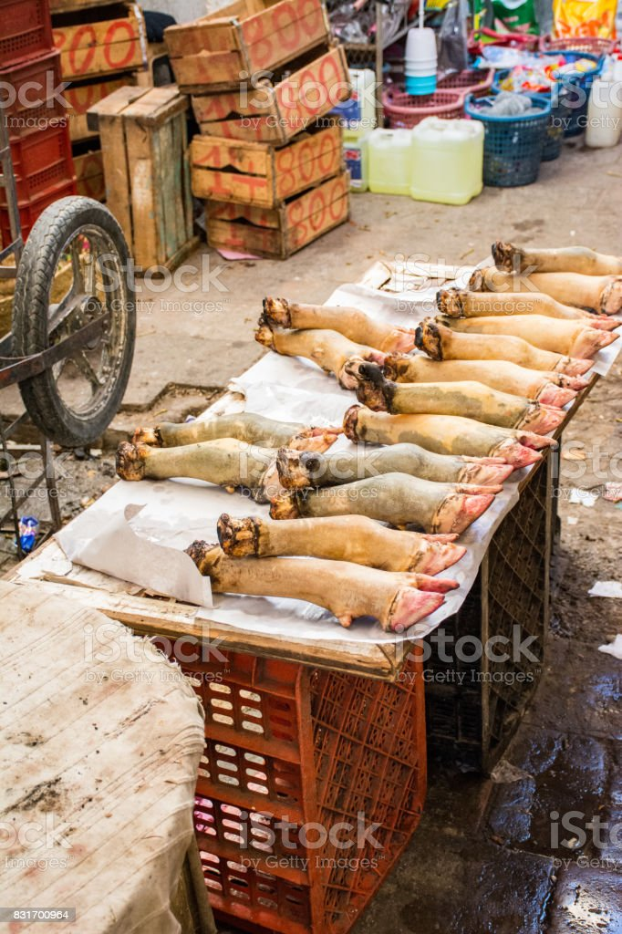 Pig's Feet For Sale in Fez stock photo