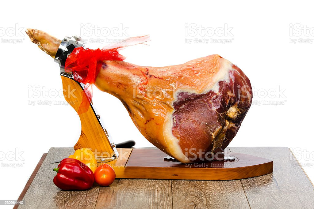 pigs ham on a stand stock photo