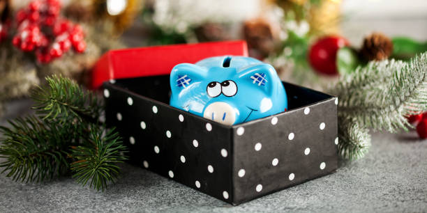 Pigybank in einer Geschenkbox – Foto