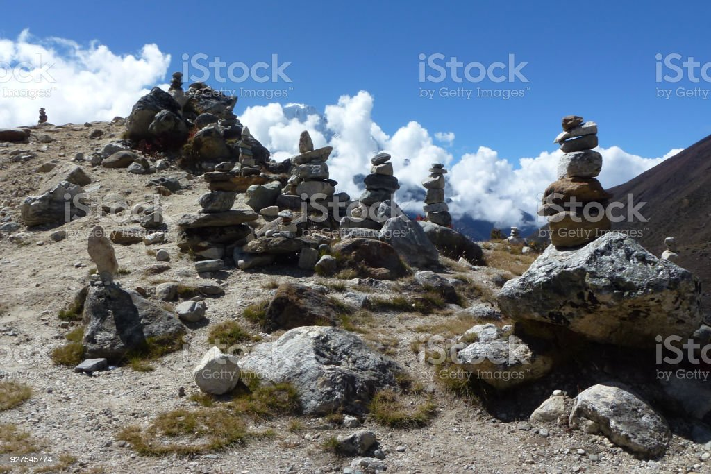 Pikas (piled stones) in Periche Valley on the road to Dingboche, Everest Base Camp trek, Nepal stock photo