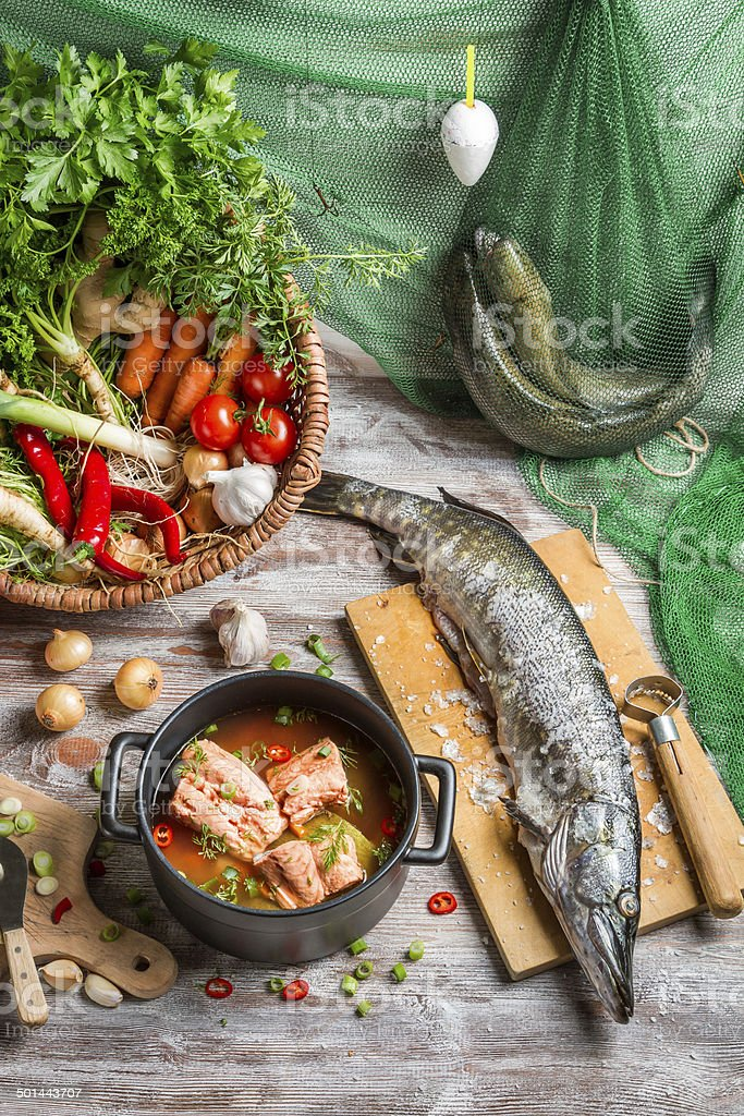 Pike and fresh vegetables for fish soup stock photo