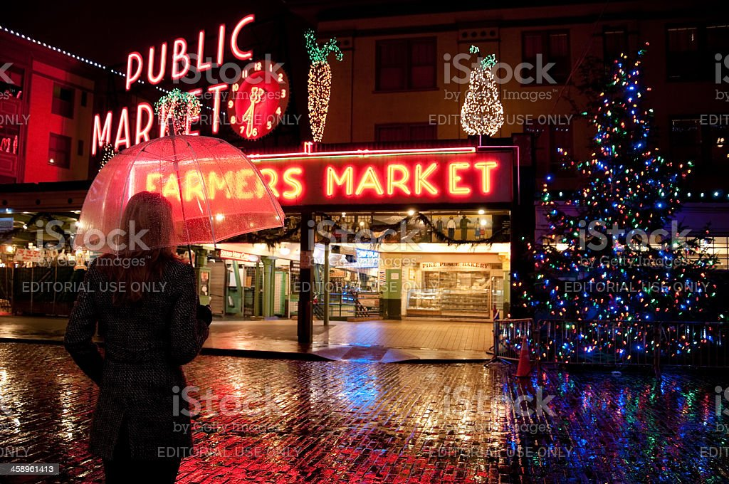 Pike Place Christmas Rain royalty-free stock photo