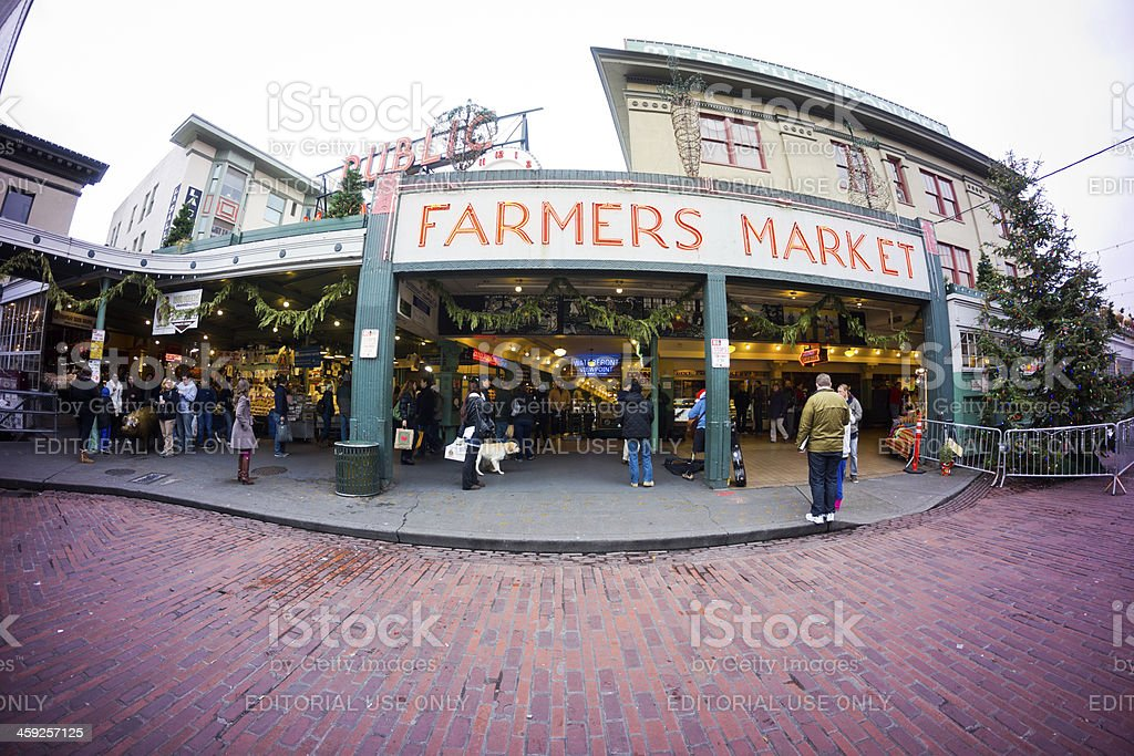 Pike Place Farmers Market in Seattle stock photo