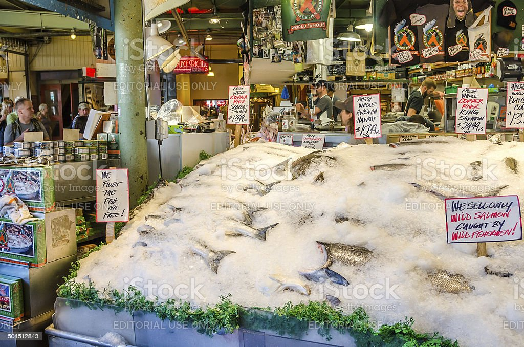 Pike Place Fish Market in Seattle stock photo