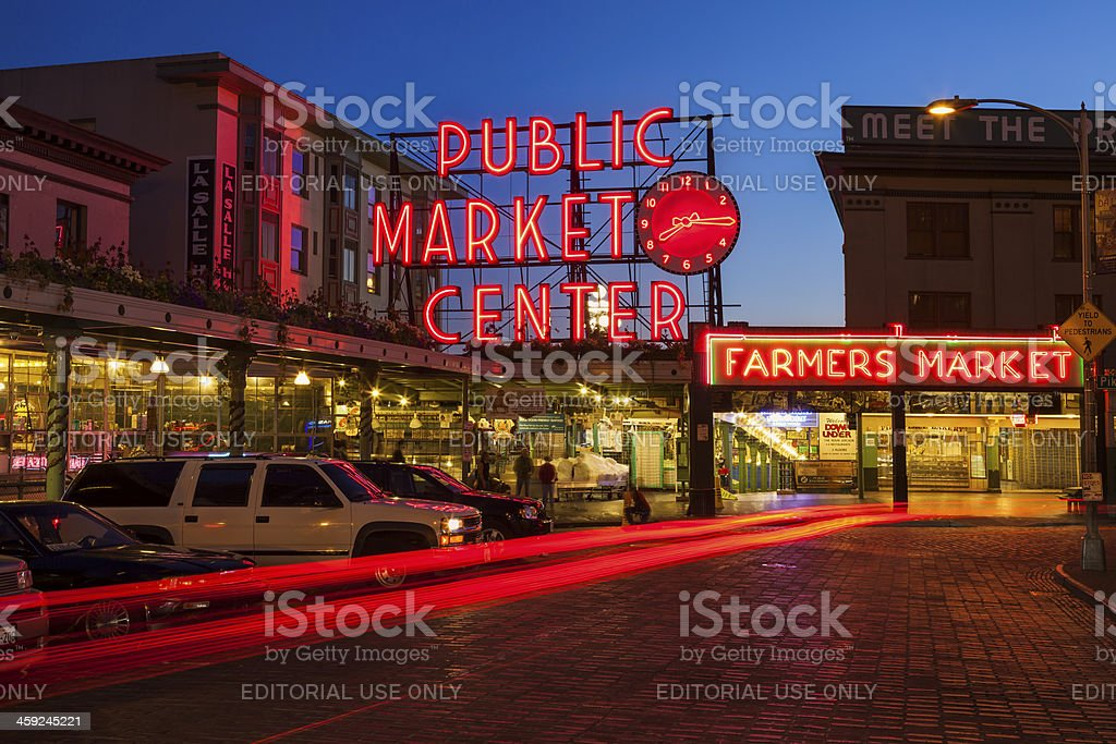 Pike Place Market at Night stock photo
