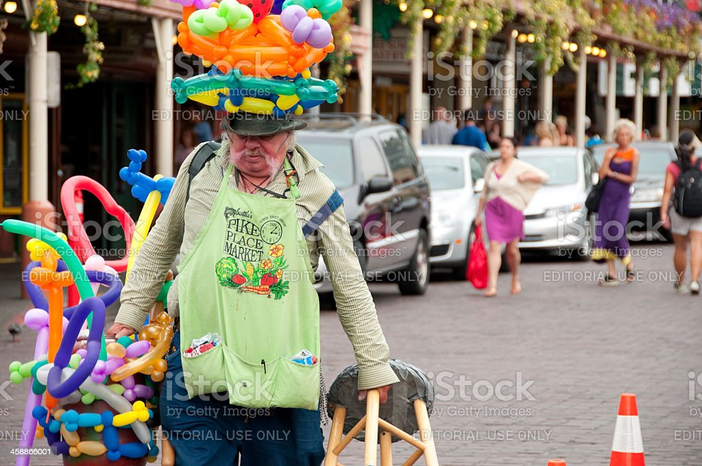 Pike Place Market Balloon Twister royalty-free stock photo