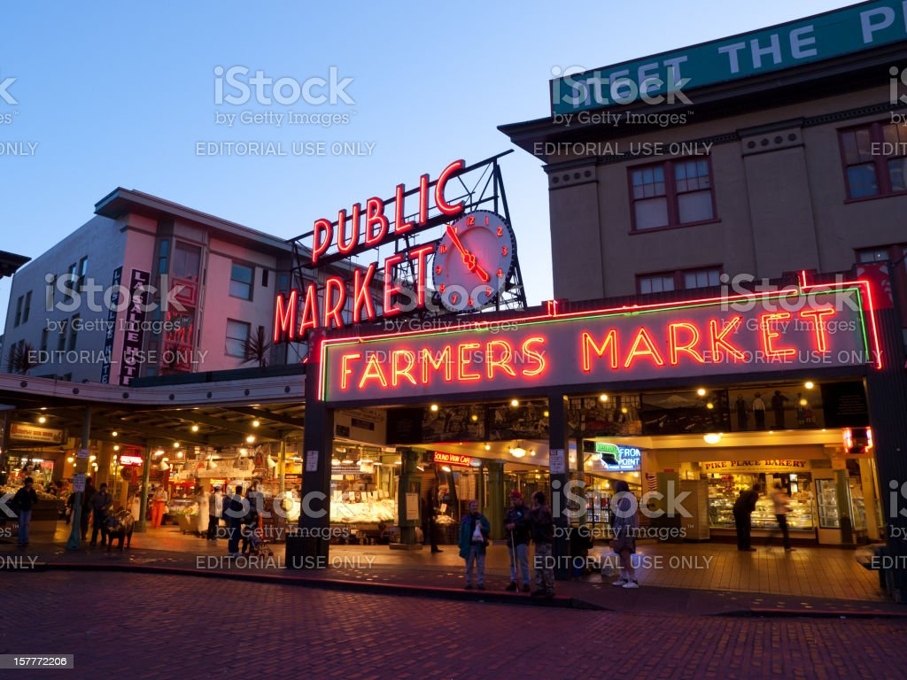 Pike Place Market in Seattle at Dusk stock photo