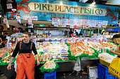 Seattle, WA, USA - JULY 21:  Fish Market at Pike Place Market in downtown Seattle on July 24, 2018 in Seattle, Washington.