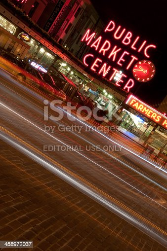 Seattle, USA - March 22, 2012: Famous Pike Place Market at night on 1st ave in downtown.