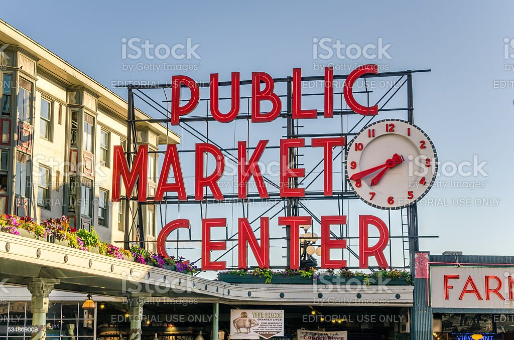 Pike Place Market Sign at Sunset stock photo