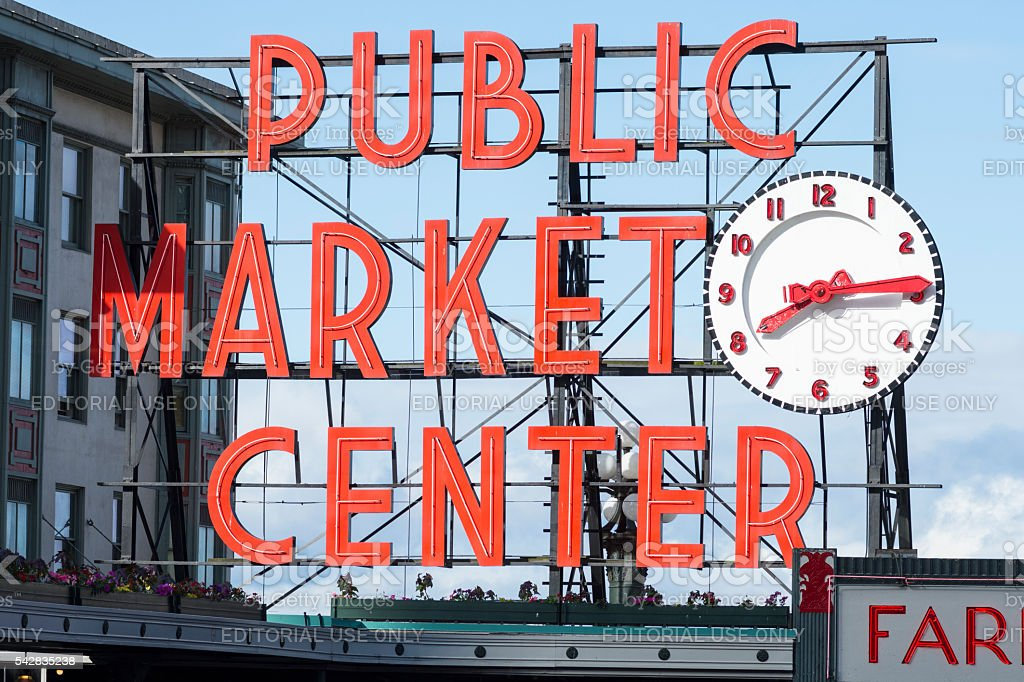 Pike Place Market sign in Seattle stock photo