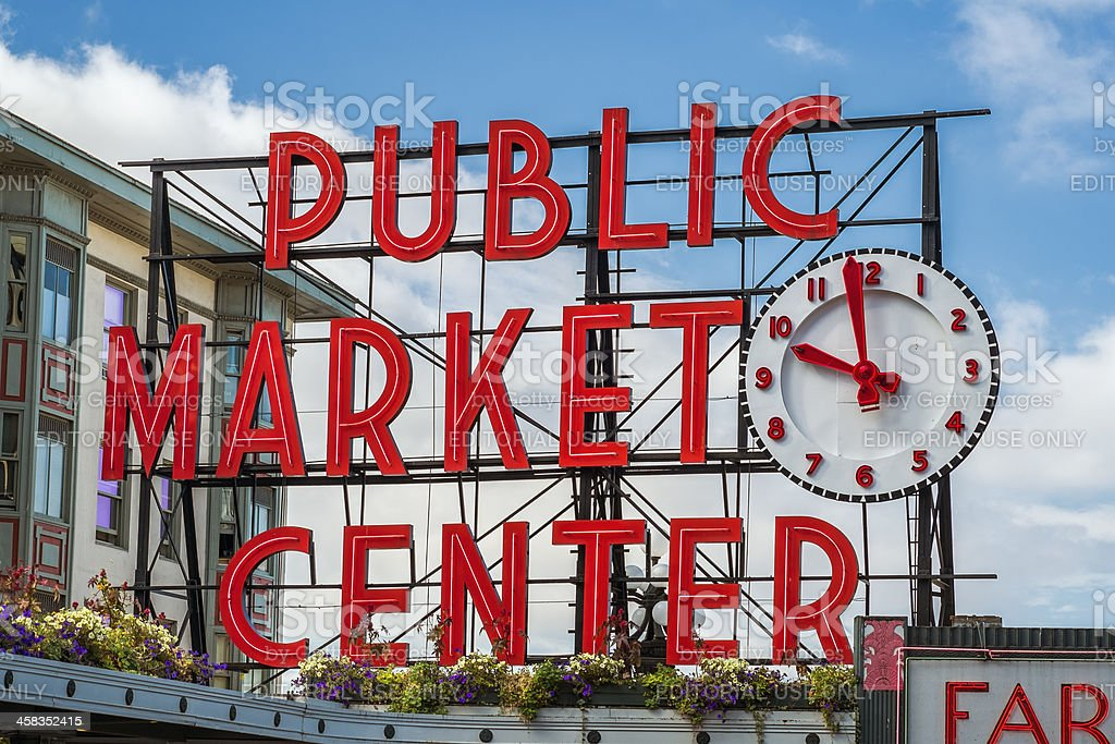 Pike Place Market Sign stock photo
