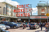 pike place market or public market center in summer season,Seattle,Washington,usa