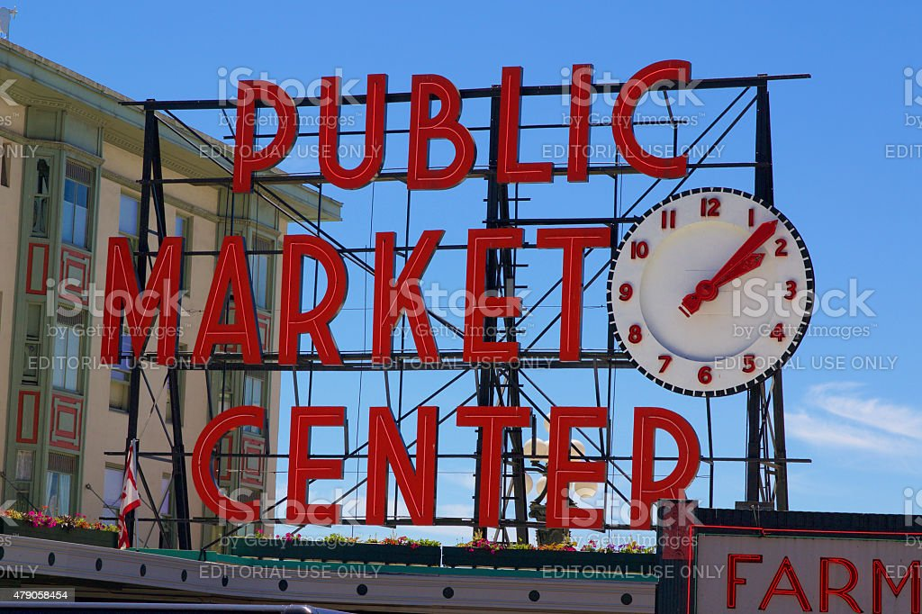 Pike Place Public Market Center Sign stock photo
