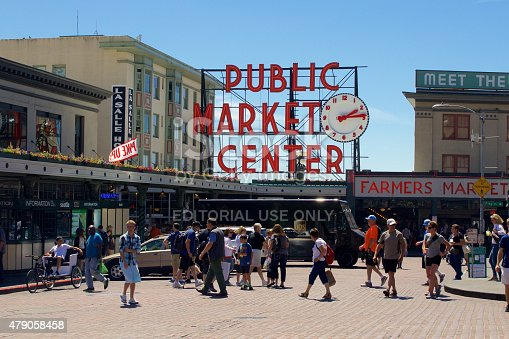 Seattle, USA - June 23, 2015: Pike Place Public Market Center Sign during daylight