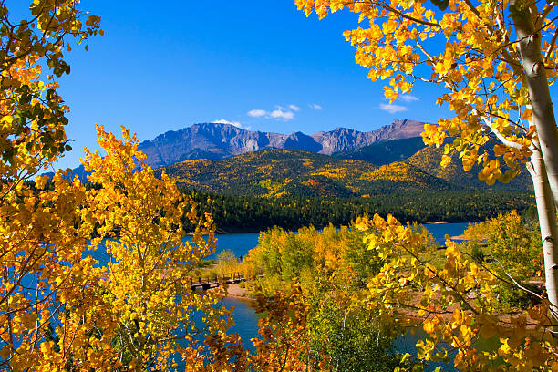 Pikes Peak and Crystal Reservoir stock photo