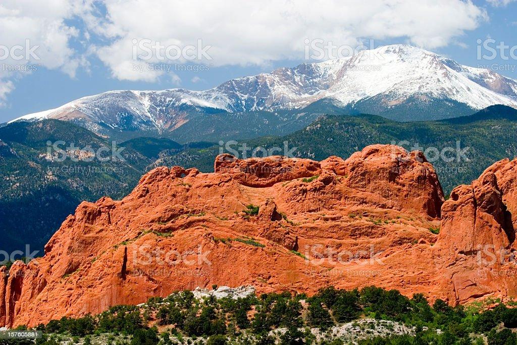 Pikes Peak and Garden of the Gods Colorado Springs stock photo