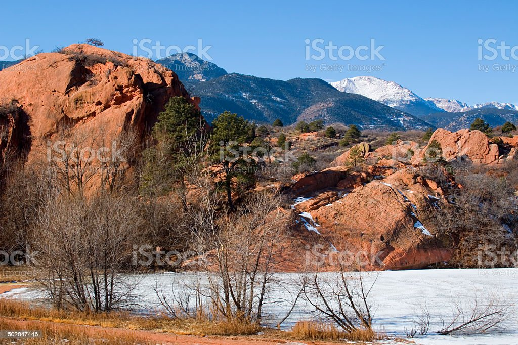 Pikes Peak and Red Mountain from Red Rock Canyon stock photo