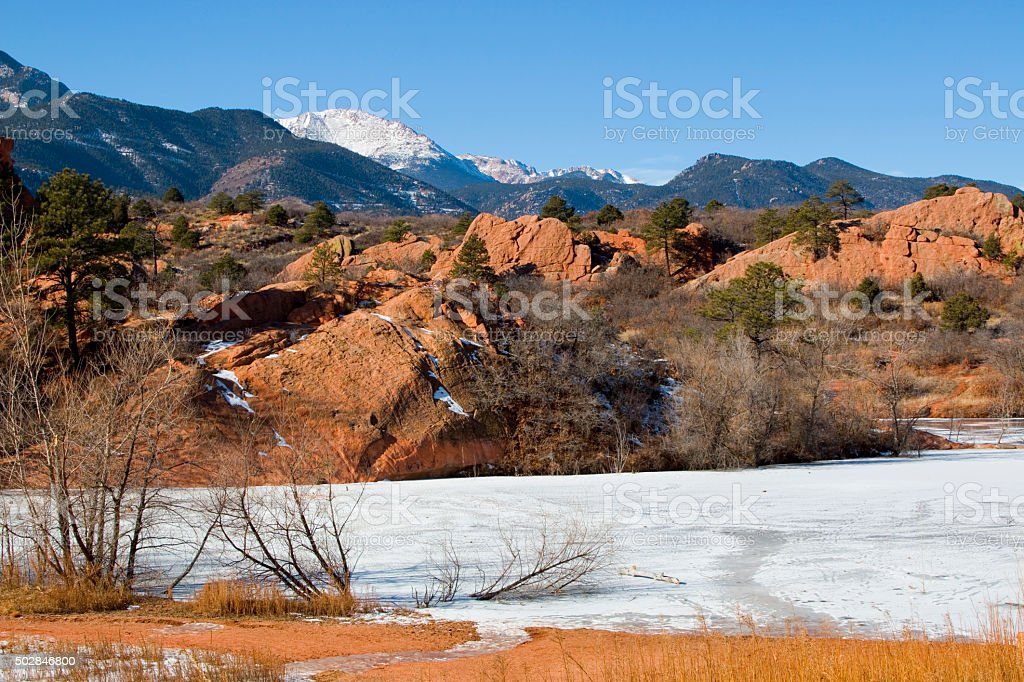 Pikes Peak and Red Rock Canyon Colorado in Winter stock photo