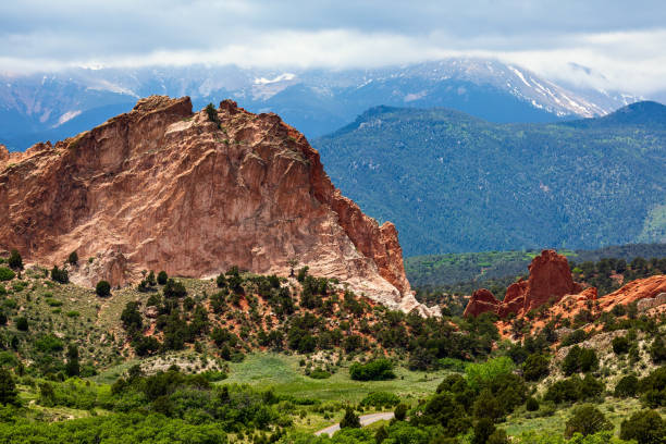Pikes Peak and scenic red rock formations at Garden of the Gods stock photo