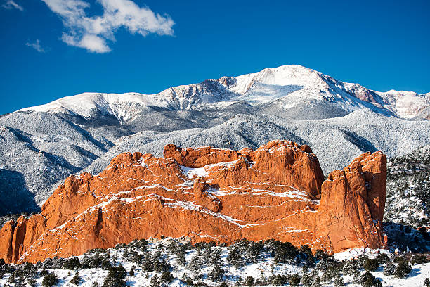 Pikes Peak and The Garden of the Gods stock photo